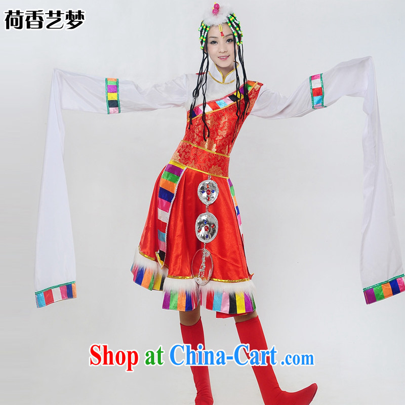 I should be grateful if you would arrange for Performing Arts Hong Kong 2014 dream new Tibetan water cuff dance costumes minority theatrical clothing female HXYM 0029 red L