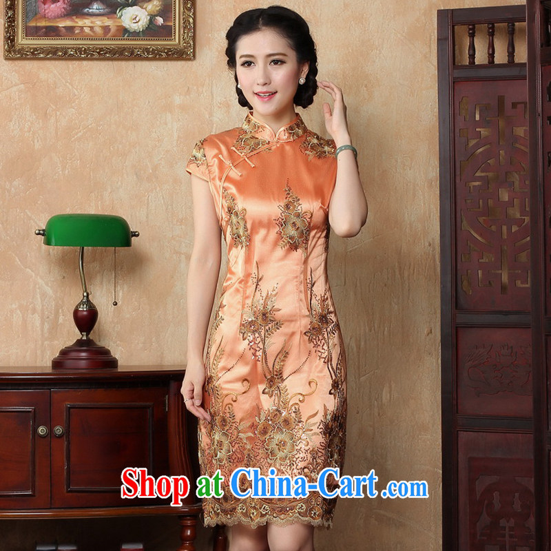 The Yee-sa 2015 spring and summer with new dresses improved temperament dress retro daily short-sleeved cotton cheongsam dress 3080 Y B XL 3