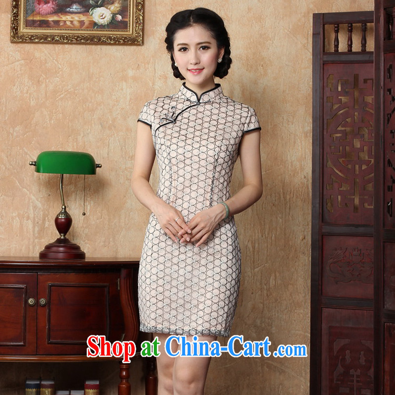The Yee-Windsor cheongsam dress lace new 2015 summer improved stylish white beauty routine female Chinese 3151 Y B 2 XL