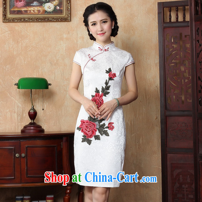 The cross-sectoral Windsor hit a red new, summer 2014 improved cheongsam dress stylish stamp duty rose cotton daily cheongsam dress Y B 2 XL