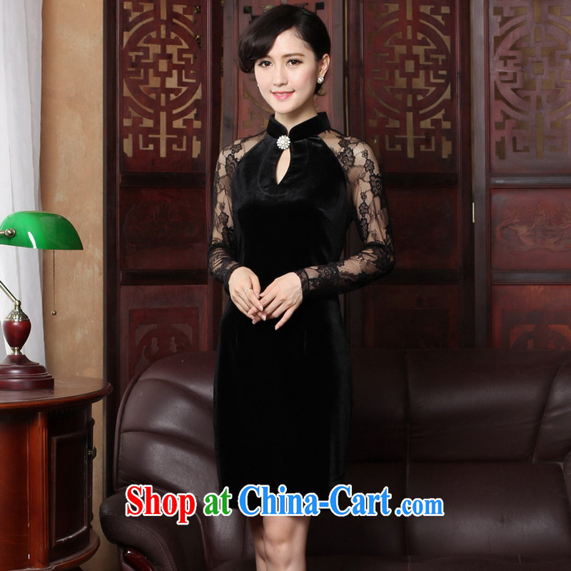 The cross-sectoral Windsor spring 2015 long-sleeved New Name Yuan Antique cheongsam dress lace stitching improved cheongsam dress 3319 Y D 2 XL