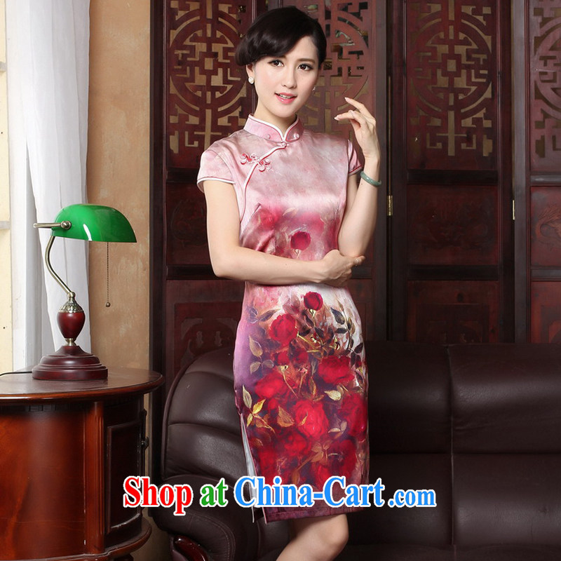 The Yee-sa 2015 new spring and summer with high quality silk cheongsam dress retro improved stylish short cheongsam dress style 3186 Y 2 XL