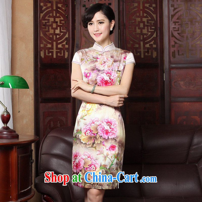 The cross-sectoral scored her 2015 summer New Silk Cheongsam dress improved stamp duty and stylish beauty routine cheongsam dress 3185 Y B L