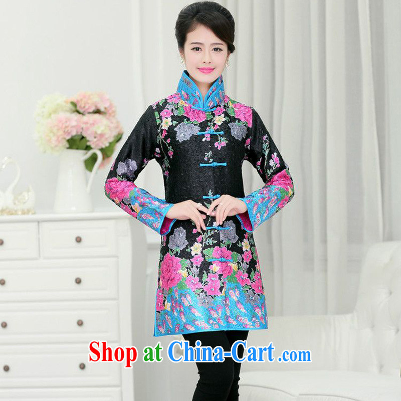 Forest narcissus 2015 spring and summer and autumn on the collar the Tang in long robes T-shirt jacket XYY - 1268 Black Toner take XXXL
