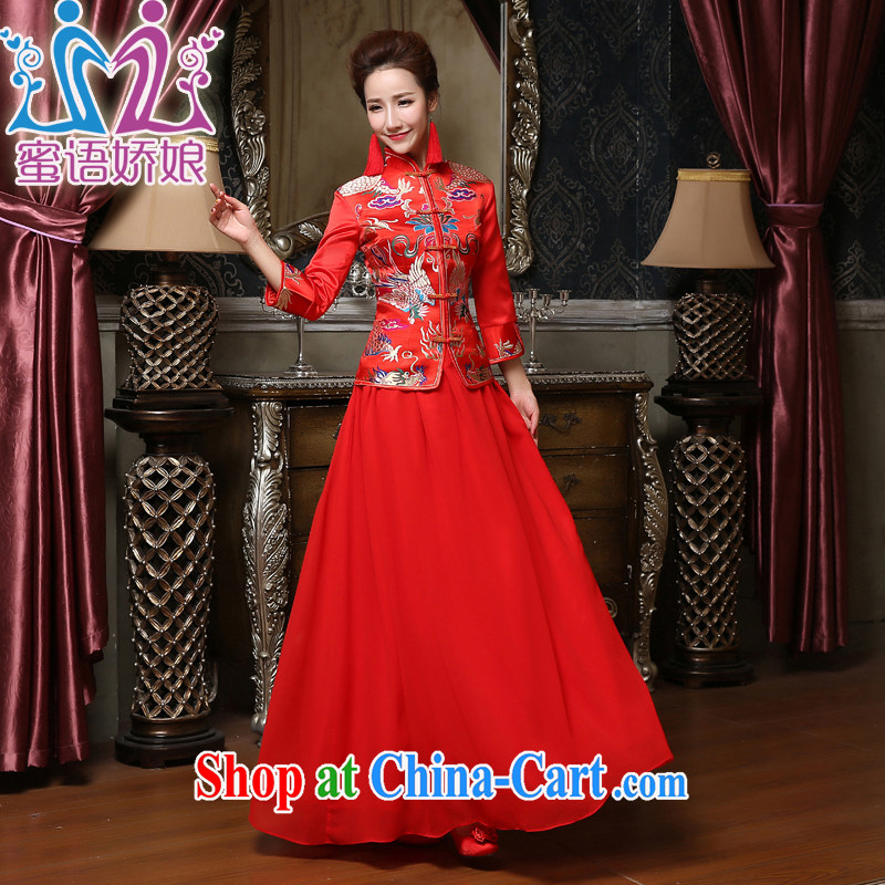 Honey, bride winter bridal dresses long dresses bridal wedding toast serving large code wedding Xiao Fengxian embroidery dress red XXXL