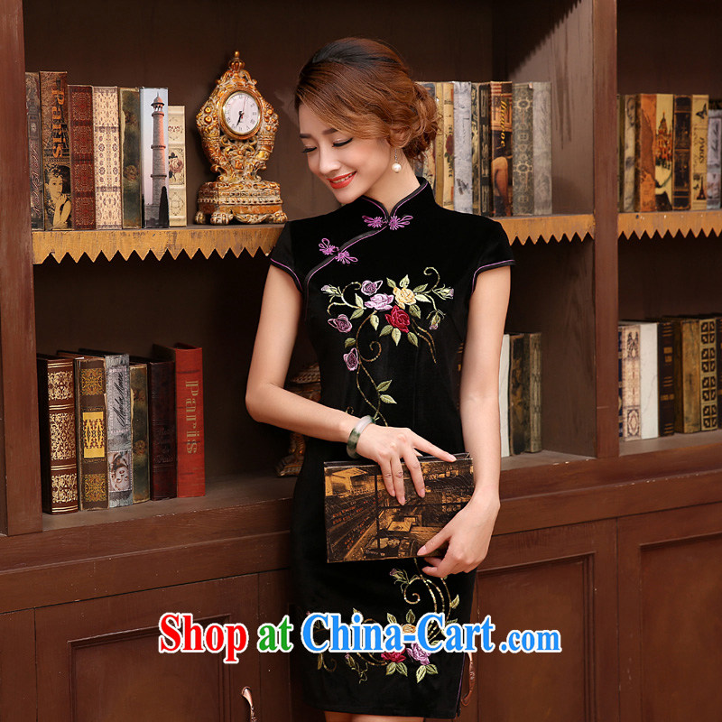 Morning, Autumn 2014 new stylish refined antique fine rust take velvet cheongsam dress 4 colors optional black XL