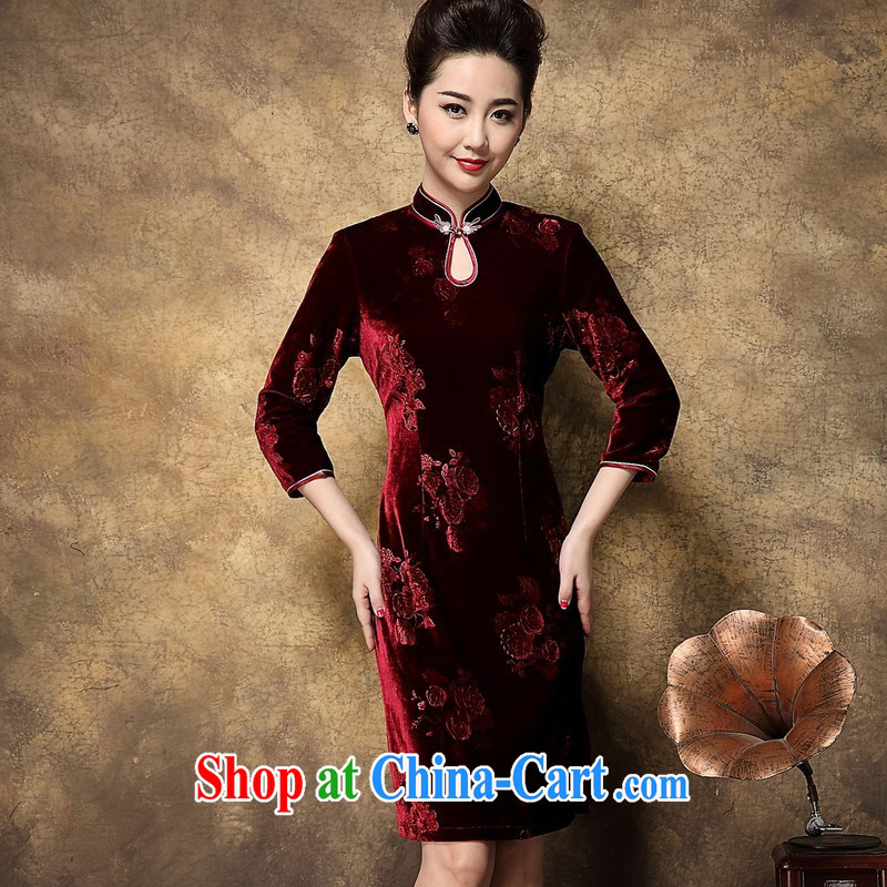2014 fall and winter new female high-end atmospheric stamp velvet 7 cuff-'s cheongsam dress maroon XXXL