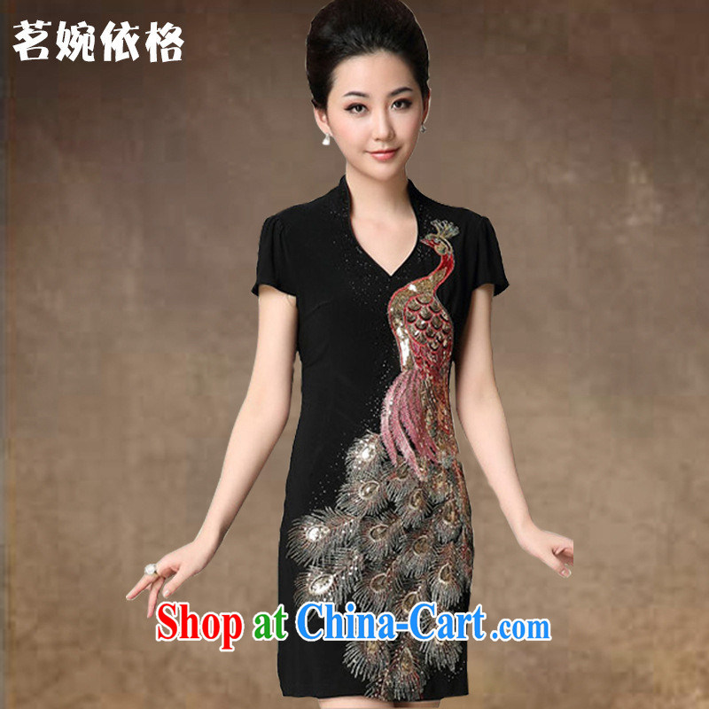 Gold sourcing 2014 genuine Ethnic Wind Phoenix embroidery cheongsam dress the code beauty graphics thin skirt stylish MOM black XXXXL