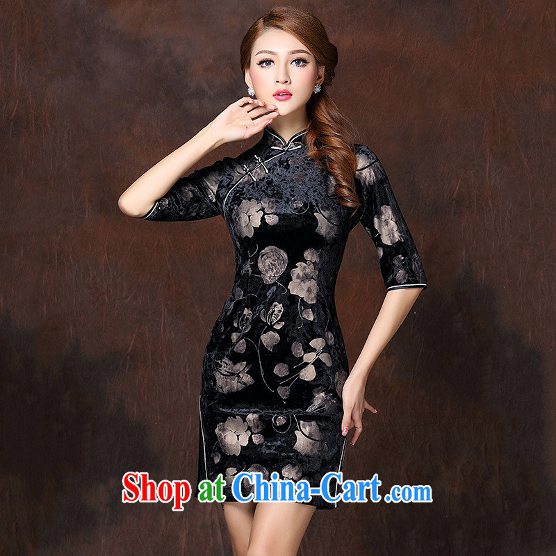 Winter 2014 new female high-end sophisticated version high quality stamp velvet improved cheongsam dress Ethnic Wind black XXXXL