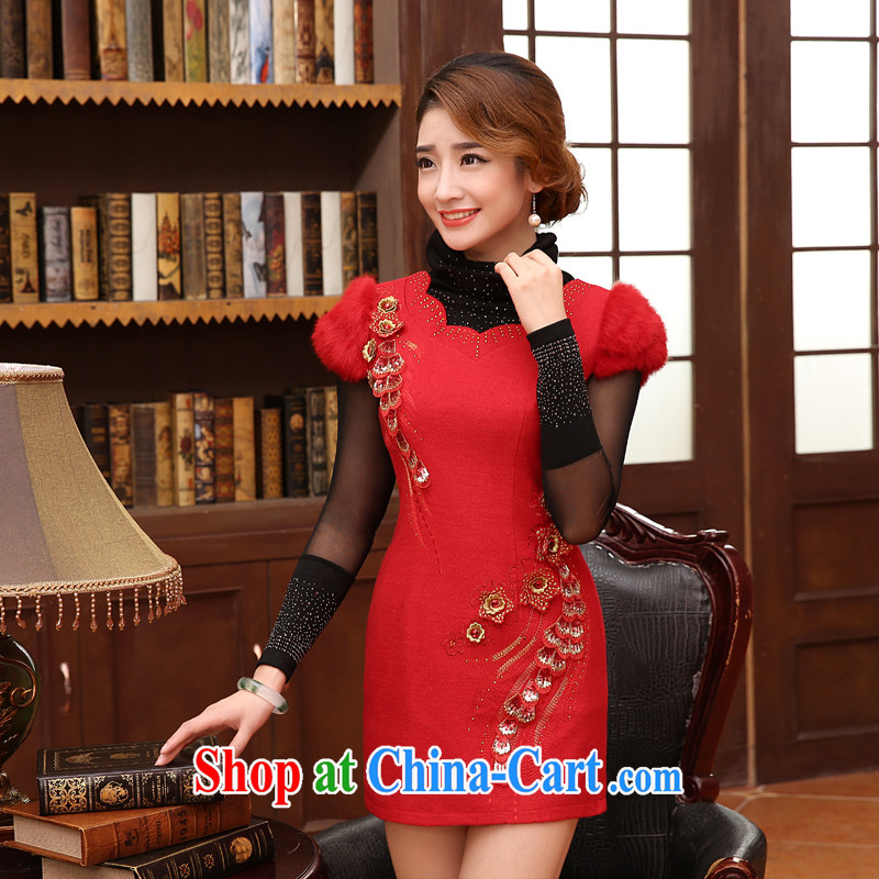 Morning, 2014 autumn and winter with new, modern day improved retro luxury hair short dresses, wool skirt red XXL