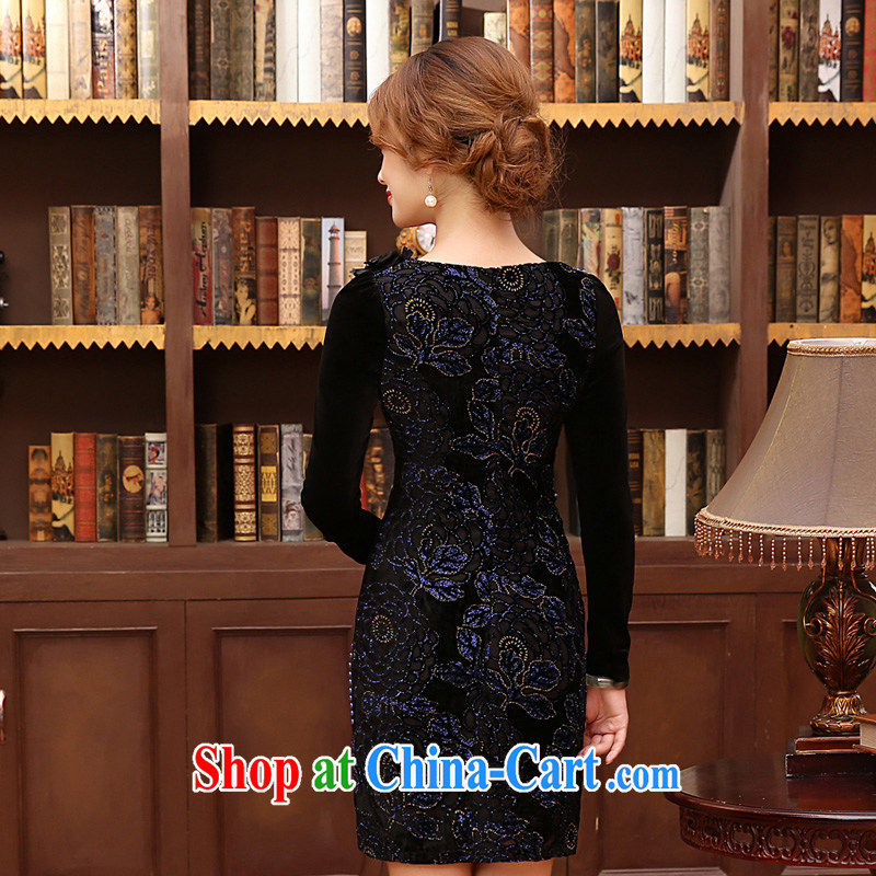 Morning, Autumn 2014 new stylish improved retro short long-sleeved velvet dress shirt solid two-color blue XXL