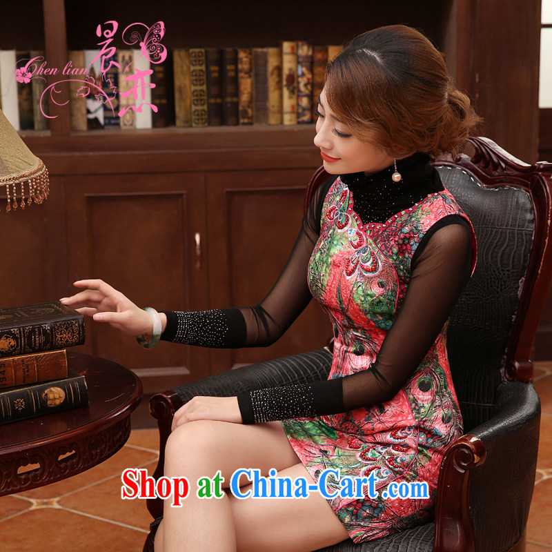 Early Morning, 2014 autumn and winter clothes new daily fashion improved retro short cheongsam dress skirt Fung Ling pink XXL