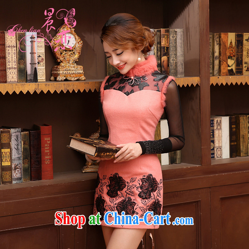 Early Morning, 2014 autumn and winter clothes new daily fashion improved retro luxury rabbit hair short dresses, wool skirt pink XXL