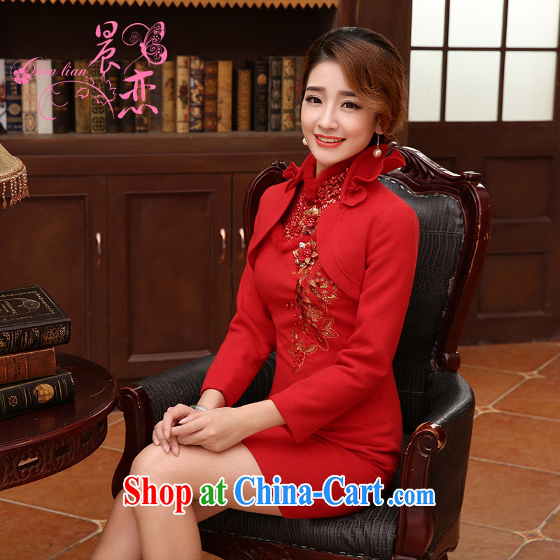 Morning 2014 land Bride with autumn and winter wedding dresses improved wool toast Chinese long-sleeved gown dress two-piece red XXL