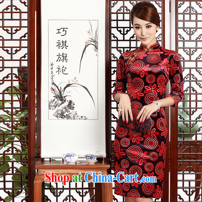 2014 fall and winter new female retro improved quality really wool beauty XL short-sleeved short cheongsam dress red XXL