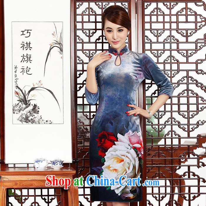 As regards genuine 2014 autumn and winter new really scouring pads positioning flower dresses dresses really velvet cheongsam high picture color XXL