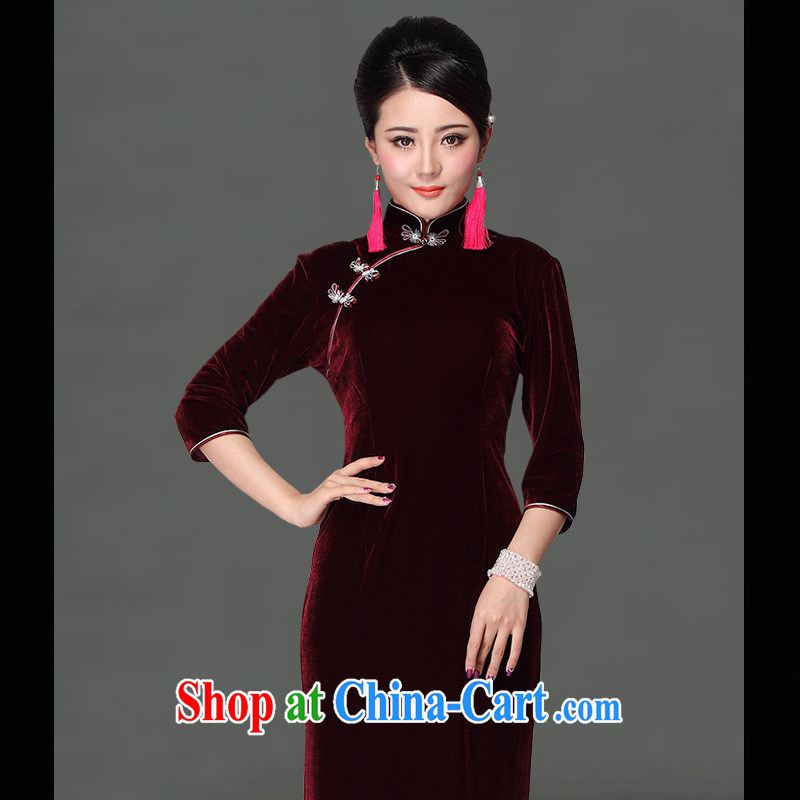 As regards genuine high quality gold velour long cheongsam dress stylish and improved 5-color a pixel long, short, dark green dresses long, other codes each code plus 20