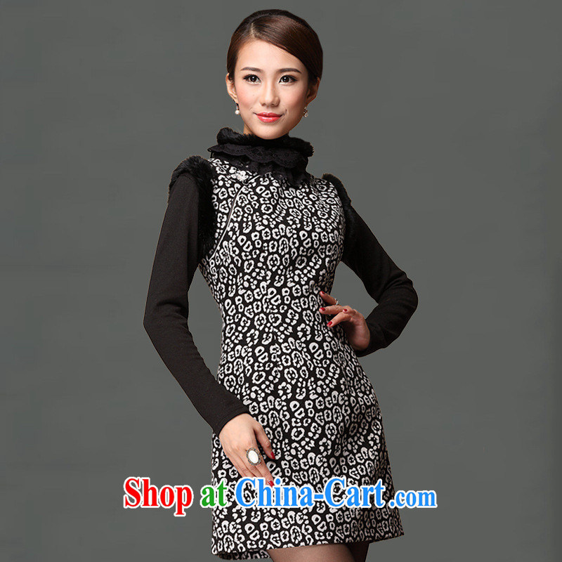 As regards genuine 2014 new hair style qipao cheongsam dress improved stylish rabbit hair for everyday dress picture color XXXL