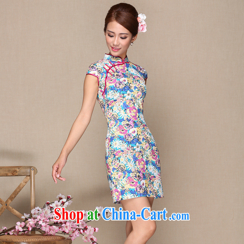 2014 new summer new female dresses retro beauty improved modern day Ms. cheongsam dress dresses picture color XL