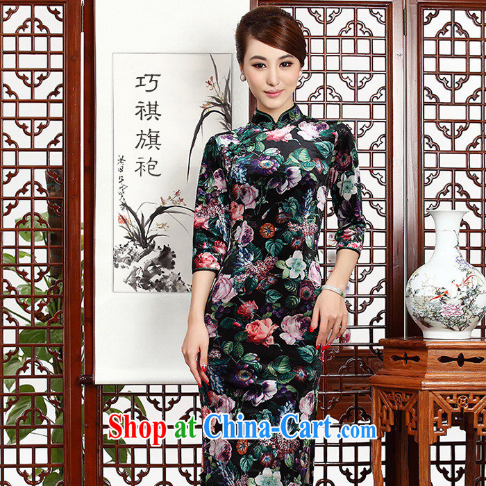 As regards being, Autumn 2014 the new cuff in velvet cheongsam improved China wind girls dresses cheongsam pictures natural XXL