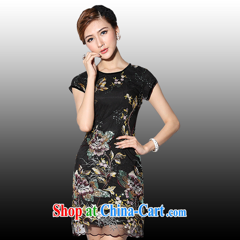 As regards genuine 2014 New first short stylish improved cheongsam stylish improved short cheongsam dress summer black XXXL