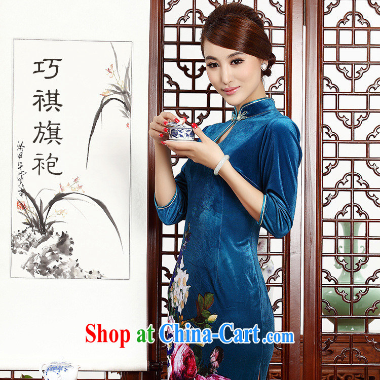 Autumn 2014 new female retro improved quality really wool beauty XL short-sleeve short cheongsam dress blue XXL