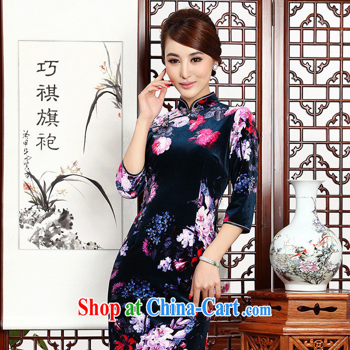 As regards Korea Ms. retro style dresses short autumn really wool Chinese qipao dress daily improved picture fancy XXL