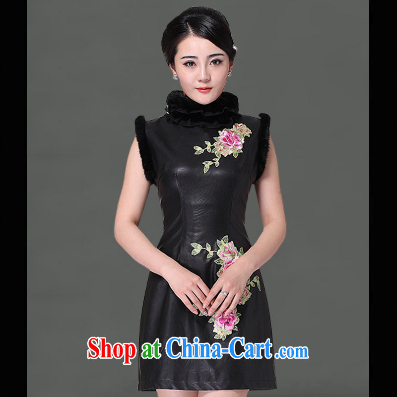 As regards a genuine new 2013 Leather Goods day-dress cheongsam dress, short dresses retro leather dresses skirt black XXL