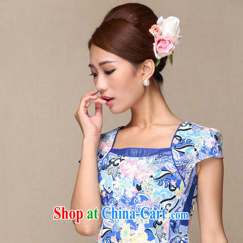 As regards 2014 stylish improved cheongsam dress retro-clip design improvements cheongsam dress banquet/daily outfit pictures color XL