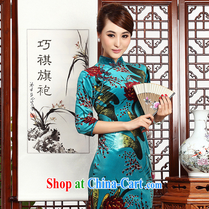2014 as regards autumn and the new paragraph outfit cuff wool improved cheongsam Chinese wind girls dresses cheongsam blue XXL