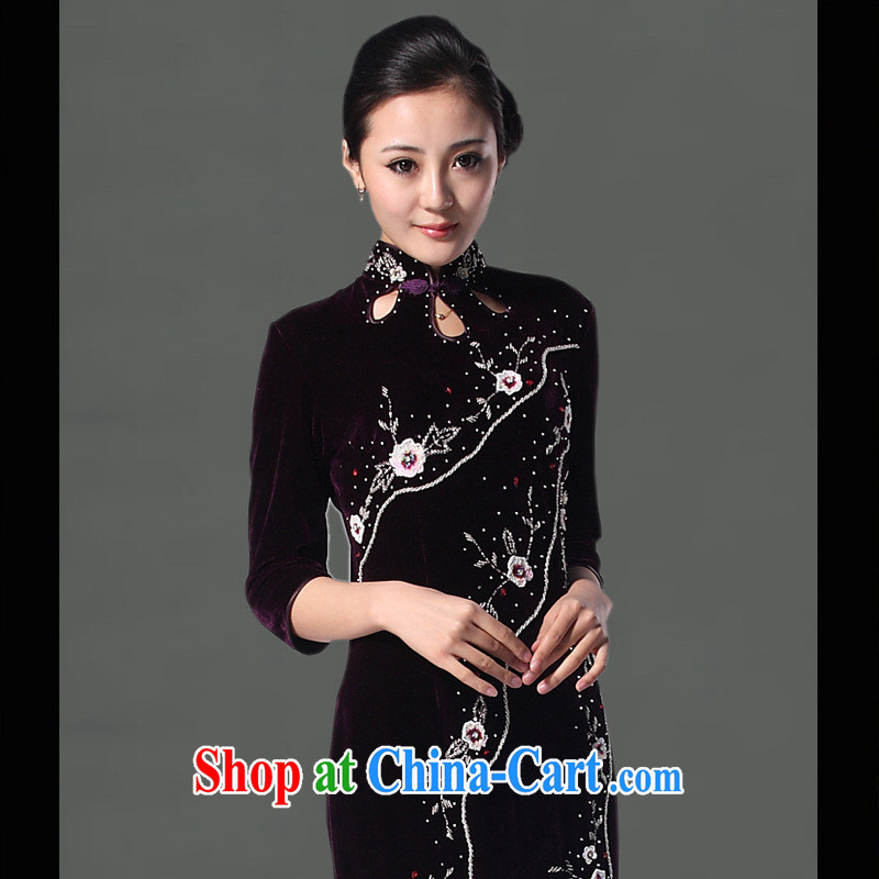 As regards genuine 2014 new the drill long, plush robes and stylish improved daily staple-ju long cheongsam dress purple XXXL