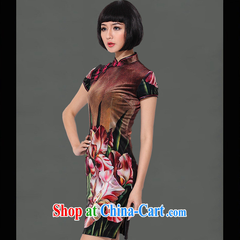 As regards a genuine 2014 registration takes the wool short cheongsam dress elegant and stylish improved velvet cheongsam black XXXL