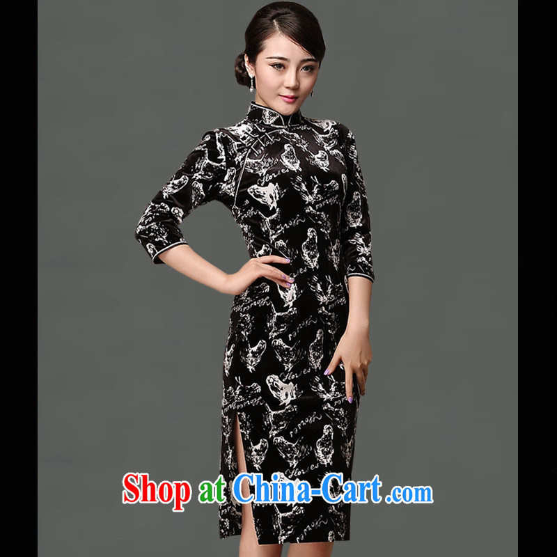 As regards new pre-sales fall 2014 the rotten flowers velvet cheongsam improved cheongsam dress classic daily cheongsam dress picture XXL