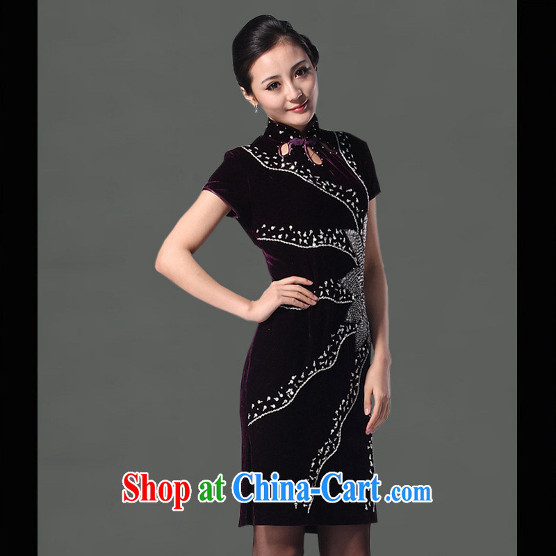 Factory outlets 2013 stylish velour cheongsam dress improved Fashion Show dress, long, velour bathrobes Tang with dark green short-sleeved XXXL