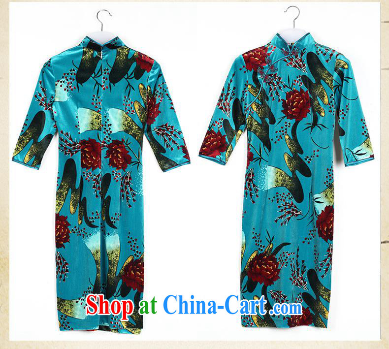 2014 as regards autumn is new, the cuff velvet cheongsam qipao improved China wind women's clothing dresses cheongsam blue XXL pictures, price, brand platters! Elections are good character, the national distribution, so why buy now enjoy more preferential! Health