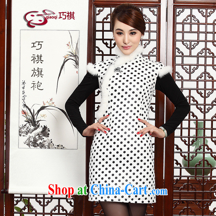 As regards genuine 2014 new winter quilted qipao cheongsam dress winter clothes stylish improved gross profit for improved cheongsam white XXXL