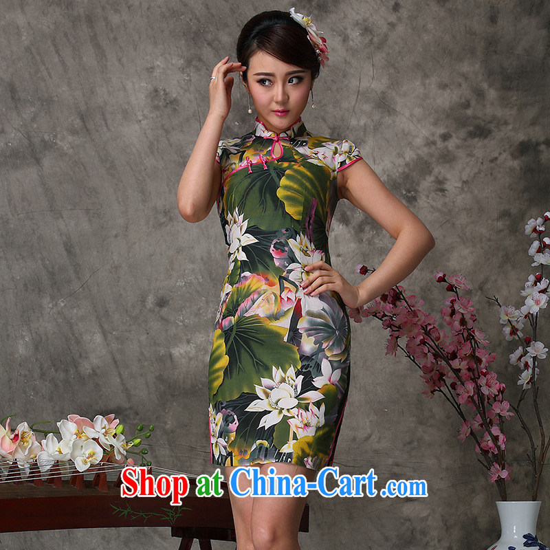 As regards modern improved summer 2014 dresses stylish improved high on the truck cotton cheongsam stylish improved cheongsam picture color XXL