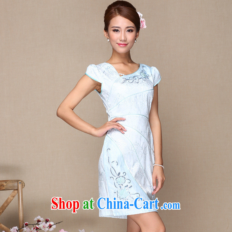 As regards improved fashion cheongsam dress, and day-to-day improved cheongsam dress 2014 style improved appointment cheongsam dress picture color XL
