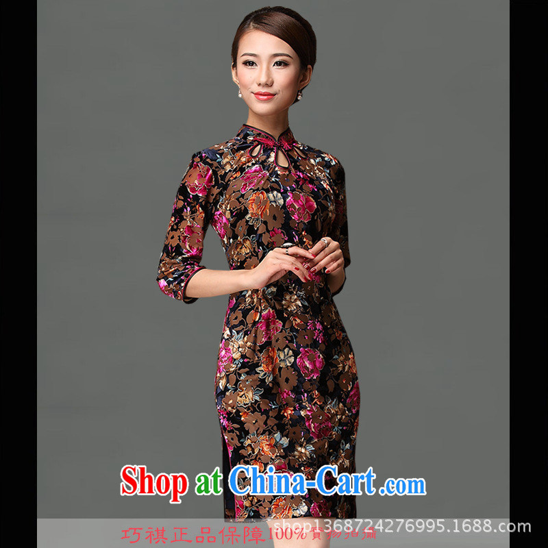 2014 is really plush robes are now thin high quality silk cheongsam dress new pre-sale improvements really velvet cheongsam picture color XXXL