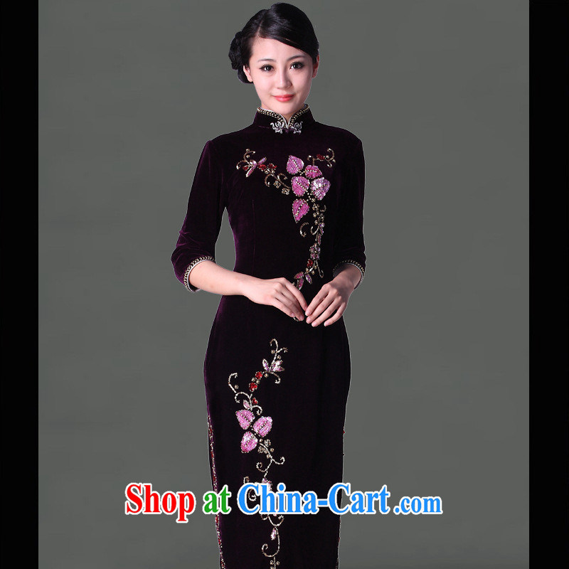 2014 New staple-ju long robes, plush robes fall and winter long-sleeved qipao improved stylish dresses wholesale purple cuff in XXXL