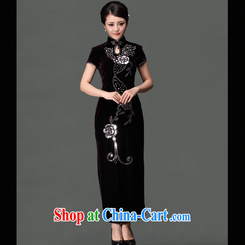 As regards genuine 2014 new the drill long cheongsam stylish improved retro air the drill will drill long dress in purple cuff XXXL