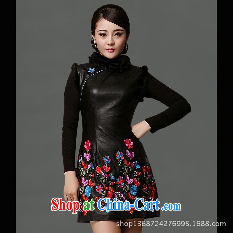 As regards a genuine new 2014 leather dresses skirts everyday dresses short skirt outfit, gross for leather goods skirt black XXL