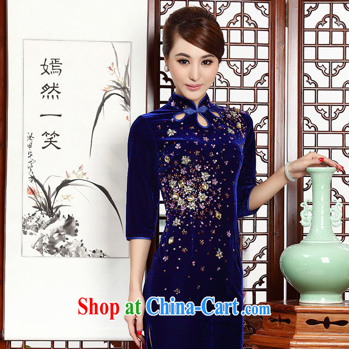 As regards new 2014 staples Pearl antique dresses pipa ends gold velour cheongsam dress daily short 231 purple XXXL