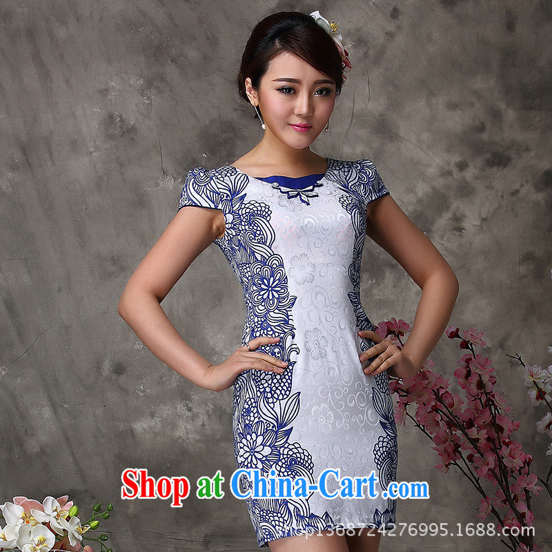 As regards new stylish improved cheongsam blue/green improved cheongsam dress summer 2014 modern improved cheongsam blue XXL
