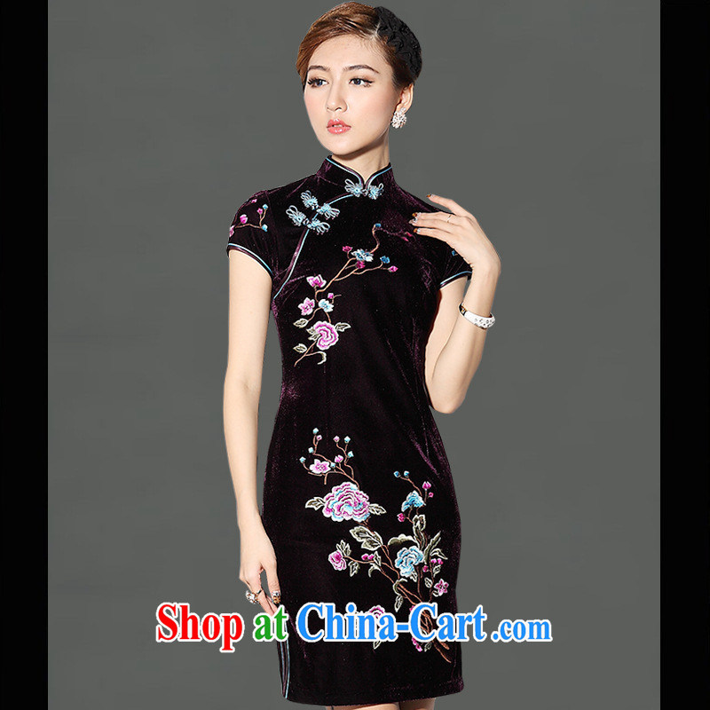 As regards genuine 2014 new improved embroidery short cheongsam daily retro graphics thin beauty/short-sleeved dresses in purple cuff XXXL