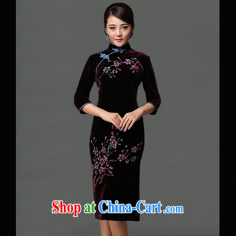 20,141 in a batch are retro improved cheongsam daily banquet cultivating cheongsam dress stylish improved cheongsam purple XXXL