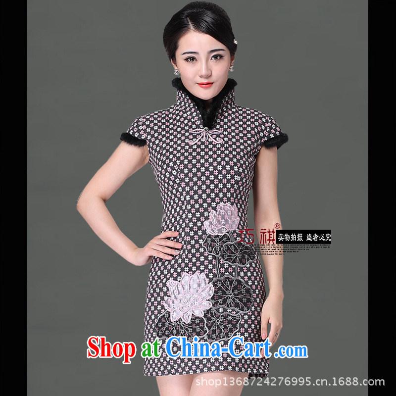 As regards folder cotton cheongsam stylish winter clothes new rabbit hair for short dresses, Retro dresses dress wholesale picture color XXXL