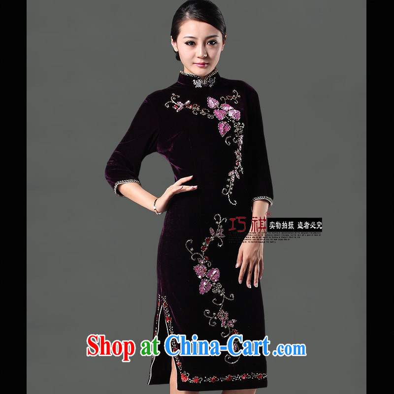 Burglary, genuine summer improved stylish beauty Stretch Wool staple goods Pearl mother is married cheongsam qipao in purple cuff XXXL