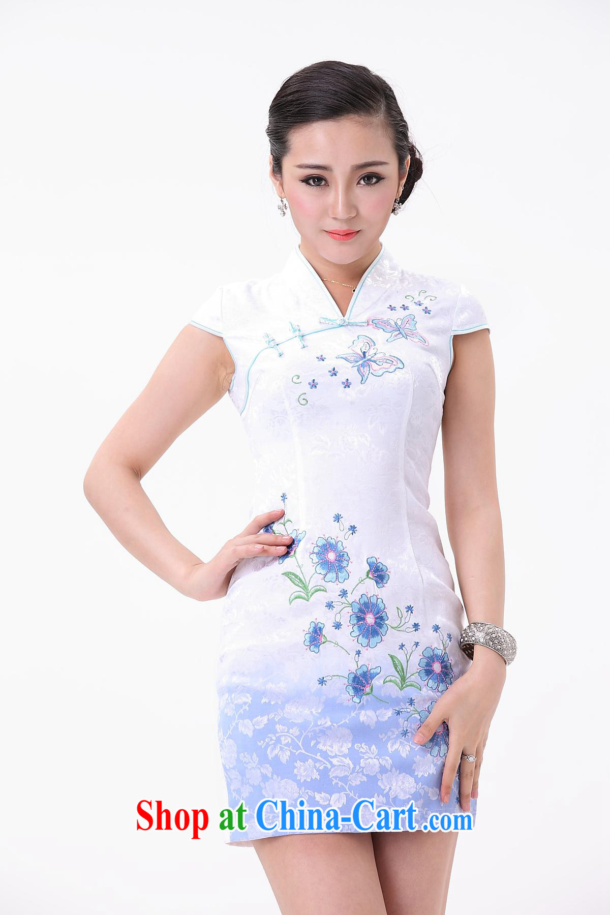Introducing the new, non-truck small cheongsam improved skirt stylish small cheongsam dress blue and white porcelain sleeveless dresses wholesale white XXL pictures, price, brand platters! Elections are good character, the national distribution, so why buy now enjoy more preferential! Health