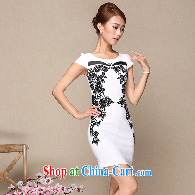 2014 summer fashion improved cheongsam black-and-white flowers stylish improved cheongsam dress daily improved fashion cheongsam dress white XL